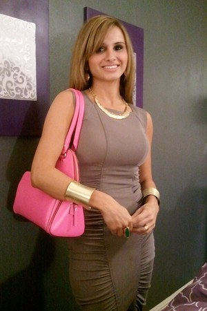 gold necklace - brown BCBG dress - hot pink kate spade bag