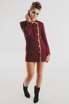 Vintage 1980s Lew Magram / Oxblood Burgandy Military Mini Dress / Jacket