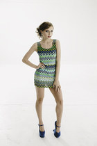 New Design Bright color Zig Zag Chevron striped shift bodycon dress
