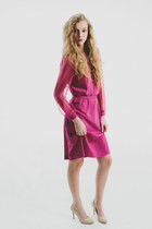 Vintage 70s Pink Pantone / Belted Secretary Dress/ Midi Dress Sheer long sleeves