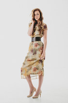 FLORAL Sheer Dress Lined / Floral Print Dress Rose Print  Sundress Boho Chic