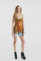Vtg 90s New Gypsy Boho Chic Sequin layered Multi Color Tank Top