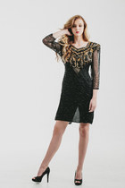 Vintage Night Line Black Gold Trophy Sequin Dress / Beaded Dress / Sheer Sleeves