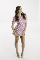 Vtg 1980s Striped Candy pink orchid mini dress