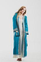 Vintage 70s Bohemian Goddess Floral Applique Blue Kimono Robe