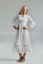 Vintage 70s White Crochet Sleeve Hippie / Eyelet Boho Dress / Festival / Wedding