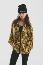 Vtg 80s 90s Baroque Golden Black Bomber Jacket Hip hop high fashion