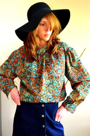 petite notations top - asos hat - Vintage desiner top shirt - Gap skirt