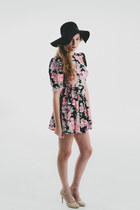 Vtg 1980's Floral Rose Baby Doll Mini Dress