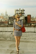 navy Ralph Lauren dress - red SPIRAL Foundation bag - brown Karen Walker sunglas