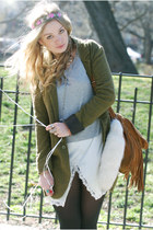 ivory Anthropologie dress - army green free people jacket - heather gray H&M swe