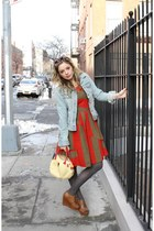 red Marc by Marc Jacobs dress - blue denim Old Navy jacket - charcoal gray ribbe
