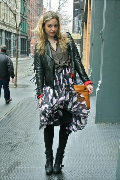 black Zara boots - light purple Erin Fetherston dress - black William Rast jacke