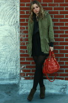 dark green suede bootie Steve Madden boots - army green cotton JCrew jacket