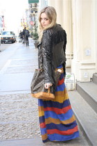 blue Urban Outfitters dress - black William Rast jacket - dark brown Louis Vuitt