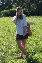 black Forever 21 dress - light blue JCrew shirt - peach Zara bag