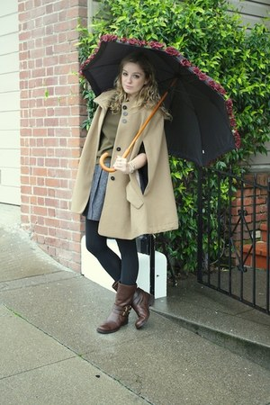 dark brown JCrew boots - camel cape Hanii Y coat - army green Dean Hutchinson sw