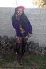 Purple-african-woman-quellyruedesign-sweatshirt-brown-combat-frye-boots