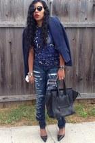 navy Zara blazer - navy ripped Current Elliot jeans - navy menswear Zara shirt