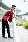 Red-plaid-shirt-shirt-black-bossini-pants-white-nana-clothing-t-shirt