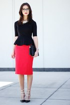 black luluscom top - red luluscom skirt - black Oasapcom heels