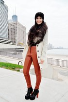 burnt orange H&M pants - ivory cardigan