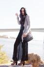 Tan-boots-black-bag-silver-cardigan-black-vintage-skirt