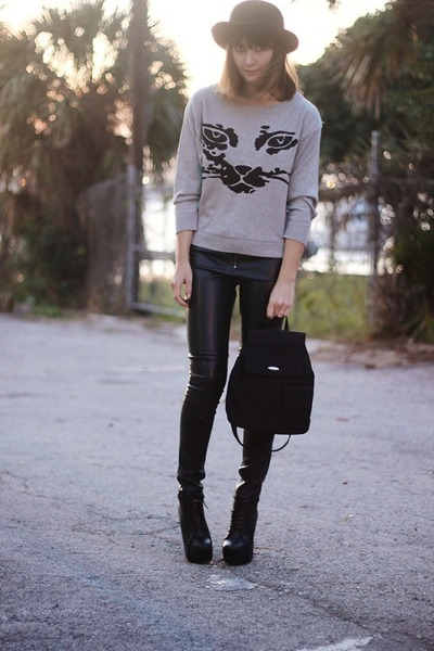 heather gray cat OASAP sweater - black Nine West bag - black leather hm pants