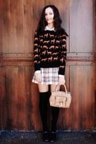 eggshell skirt - dark brown Payless shoes - black H&M sweater - tan bag