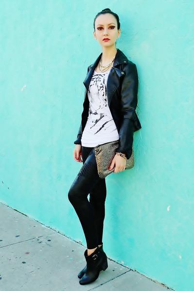black jacket - black boots - black leggings - gold bag - white top
