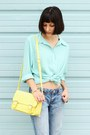 Gold-oasap-bracelet-sky-blue-jeans-light-yellow-bag-black-oasap-ring