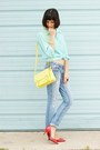 Sky-blue-jeans-light-yellow-bag-aquamarine-blouse-red-heels
