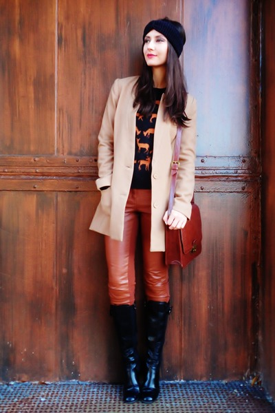 black H&M sweater - black boots - tan H&M blazer - brick red bag