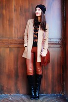 black H&M sweater - black boots - tan H&M blazer - brick red bag
