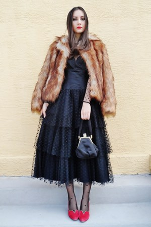 black vintage dress - bronze H&amp;M coat - black asos tights