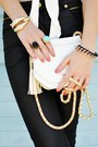 Gold-oasap-ring-camel-shoes-white-vintage-bag-black-pants