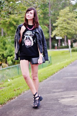 black top - black jacket - black shorts