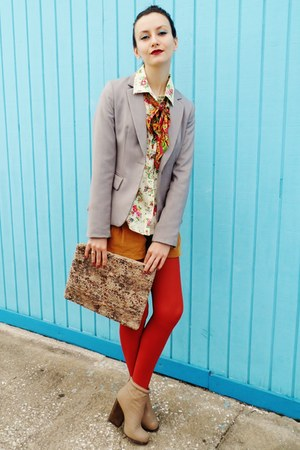 bronze vintage shorts - tan boots - silver H&M blazer - brick red Target tights