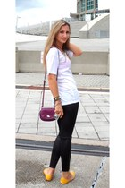 black leather leggings - magenta New York and Company bag - gold flats - white t
