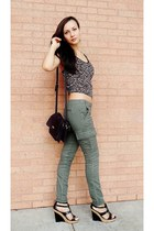 army green khaki pants - black wedges