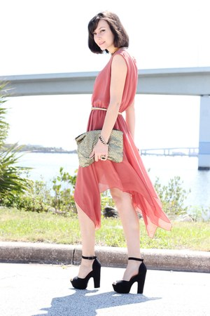black shoes - coral Love dress - gold Sequin bag - gold arty ring