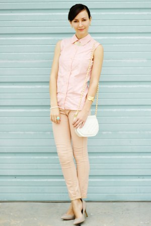 gold romwe bracelet - beige Rampage shoes - light pink thrifted shirt