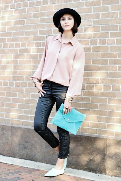 gold OASAP bracelet - light blue Target shoes - light pink vintage shirt