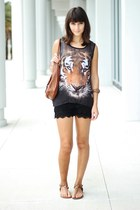 black top - burnt orange Nine West bag - black crochet OASAP shorts