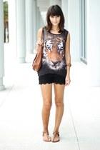 black top - burnt orange Nine West bag - black crochet OASAP shorts