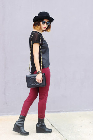 black firmoo sunglasses - black H&amp;M top - maroon H&amp;M pants