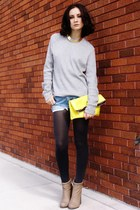 yellow bag - tan boots - silver sweater
