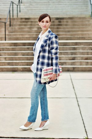 red plaid Front Row Shop bag - white court PERSUNMALL wedges