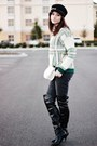 Black-over-the-knee-forever21-boots-green-tartan-persunmall-sweater