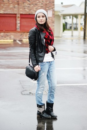 black Sheinside jacket - white PERSUNMALL top